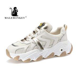MALEMONKEY moda casual zapatos de las señoras zapatillas cómodas de encaje up2020 Plataforma Blanca zapatillas de deporte de las mujeres Mujer Formadores Nueva 012955