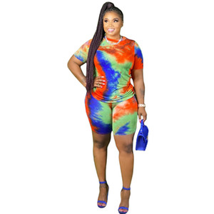 Womens Designer Summer Tracksuits Fashion Tie Dye Two Piece Set Casual Crew Neck Plus Womens Clothing