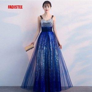 FADISTEE elegante noche de baile vestidos de fiesta vestidos de piso longitud estilo Vestido de Noiva el bling gradiente de lentejuelas una línea de tul r5Pf #