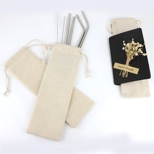 Stainless steel Canvas tableware straw portable cotton and linen tableware binding tight storage linen bag canvas bag
