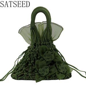 New Wool Woven Bag Handmade Net Bag Retro Fashion Portable Straw Fairy Style Woman Handbags Women Bags Designer