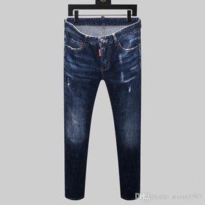 New Designer Jeans Men's Hot Brand Men's Perforated Jeans Designer Trend men's Fashion skinny jeans four season pants H144563