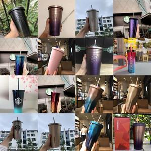 2020 Últimas Starbucks aço inoxidável 16oz Copos de palha 20 Styles Cups Ice Cube Gradiente Caneca Car Cup Suporte Grátis Custom Logo WpmcI