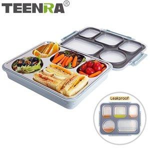 음료 용기 T200710 누액 방지 열 도시락 상자 TEENRA 스테인리스 점심 상자 컨테이너 키즈 5 구획 식품 용기
