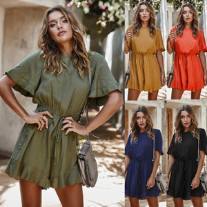 BONJEAN Women Solid Ruffles High Waist Rompers Ladies Romper Summer Jumpsuit O Neck Short Sleeve Sashes Casual Wide Leg Overalls