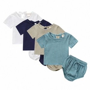 Fashion Baby Clothing Summer Toddler Baby Boys Girls Set Cotton Linen Kids Suit Shirt + Shorts 2PCS g9XA#