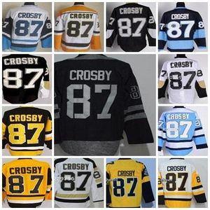Custom Hockey Jersey Herren Pittsburgh 87 Sidney Crosby Black Home C Patch Eishockey-Trikots Größe 48-5, akzeptieren Drop Shipping