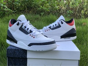 2020 Air Authentisches 3 SE DNM Fire Red OG Denim Basketball-Schuh-Mann-Weiß-Schwarz Cement Sneakers Outdoor Sports mit Origianl Kasten US 7-13
