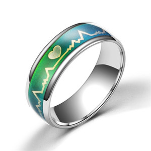 Alloy Ring Changing Color Mood Rings Feeling   Emotion Temperature Ring Wide 6mm Smart Jewelry Fashion Rings for Men Women Free Shippin
