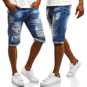 2020 Sommer neue Mens Solid Color Short Jeans Male Hip Hop Geflanscht zerrissene Jeans dünne Denim-Jean Shorts für Männer Pantalon Homme