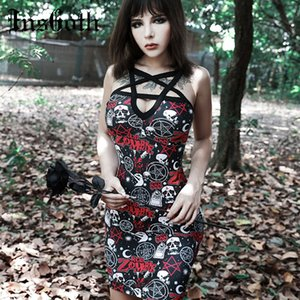 InsGoth Pentagram выдалбливают Sexy готический платье Halloween Череп Rose Printed Bodycon Mini Party Lady Dress Harajuku Streetwear