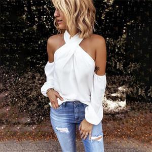 GAOKE del hombro de la blusa blanca Mujeres bodycon blusa elegante de verano atractivo camisa 2020 blusas femeninas remata camisetas