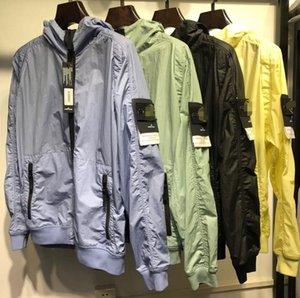 2020 봄과 가을 새로운 스톤 20SS 섬 나침반 자수 남성 캐주얼 금속 나일론 재킷 얇은 후드 자켓