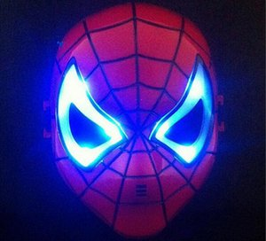 LED Masks Children Animation Cartoon Spiderman Light Mask Masquerade Full Face Masks Halloween Costumes Party Gift