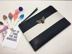 Big size best letter clutch bag with box women brand Genuine Leather square wallet leather purse women Money wallet size 30-20 cm 476077