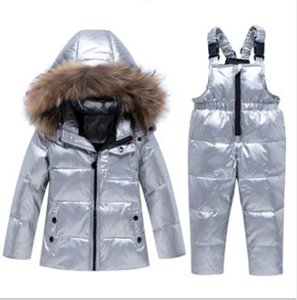 Wholesale two-piece suit for boys and girls 1-5 years old big fur collar thick warm baby infant winter children's down jacket suit