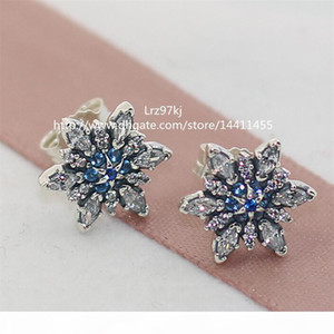 100% High-quality 925 Sterling Silver Crystalized Snowflake Earrings with CZ Stud Earrings Fits European designer Jewelry Earrings