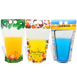 500ml Flamingo Fruit pattern Plastic Drink Packaging Bag for Beverage Juice Milk Coffee, with Handle and Holes for Straw LX2900