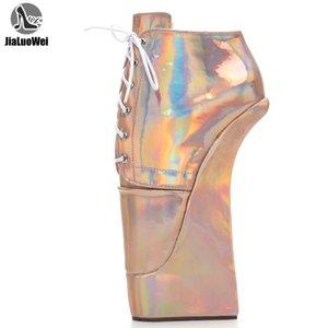JIALUOWEI extremo del tacón alto ata para arriba el talón de 22 cm con plataforma atractiva estilo zapatillas de ballet holográfica