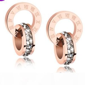 E Jewelry Jewelry Sets For Women Rose Gold Color Double Rings Earings Necklace Titanium Steel Sets Hot Fasion