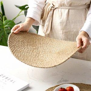 grama estilo japonês tecido jardim mat refeição, esteira do copo, calor mat isolamento linho grama tecido mão de chá da flor conjunto tapete especial, tapete redondo refeição