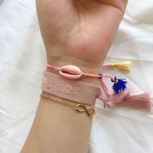 Süße Candy Pink Cotton Armband, Luxus Stil Frienship Armbänder für Sis und Lieben, Charm Geschenk verstellbare Armbänder