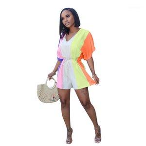 Jumpsuits beiläufige Panelled Farbe Frau Strampler Womens Designer Jumpsuits Mode loser V-Ausschnitt Kontrast-Farben-Damen