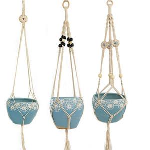 Manuellement en tricot Hanging panier Plante Cordes Coton Couleur Pots Holder Paniers Flowerpot de levage Jardinage Mur Cintres 9 9XC B2 Décore