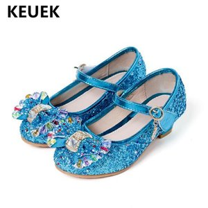 New Children Rhinestone High-heeled Shoes Girls Princess Glitter Crystal Dance Shoes Student Party Dress Kids Leather Shoes 041 T200709