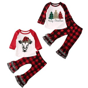 Baby Girl Clothes Set Ruffle Sleeve Girls Tops Flare Pants 2pcs Sets Plaid Toddler Outfits Boutique Baby Clothing Xmas Tree 2 Designs DW4782