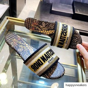EMBROIDERED COTTON SLIDE Women Sandals Fashion Casual Slippers Top Quality KCQ306APE_S77B Size 35-42 With Box