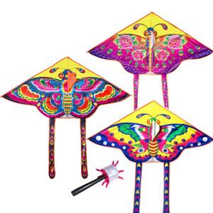 3 PC / Sätze 90 * 55cm Nylon Rainbow Butterfly Kite im Freien Kinder Spielzeug 60M Steuerstab und Linie Random Color Mix Großhandel