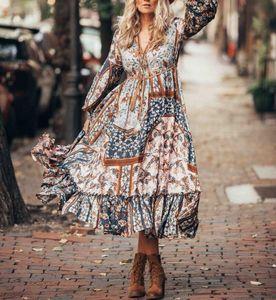 Vintage bohemian floral printed dress boho hippie chic long sleeve v neck patchwork hem ruffle maxi dress robe boheme femme 2020
