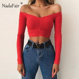 Nadafair red black rib knitted sexy crop tops women off shoulder long sleeve draped slim casual short t shirt tee shirt femme
