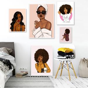 Современные Sexy Girl портрет холст Картина Мода африканских женщин Плакат и распечаток Аннотация Wall Art Pictures для гостиной Украшение