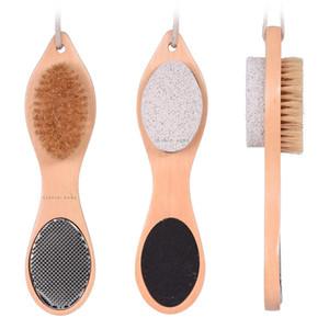 حمام جديد الشعر الخشن النظيفة قدم فرشاة خشبية أقدام حجر الخفان باديكير الكالس إزالة القدم عناية معدنية فرشاة مزيل الجلد الميت lxj062 النظيفة