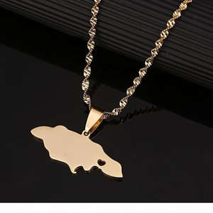 K Stainless Steel Heart Jamaica Map Pendant Necklaces For Women Girl Gold Color Jewelry Jamaican Patriotic Gifts