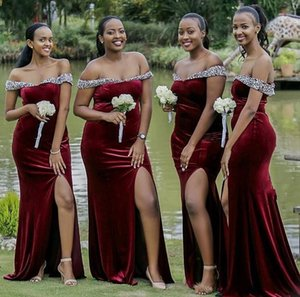 2020 off shoulder Bridesmaid Dresses long Simple velvet sexy slit African Country Wedding Guest Gowns Maid Of Honor Dress Plus Size