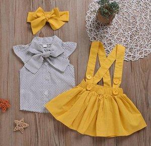 여자 아기 의류 세트 유아 소녀 도트 셔츠 솔리드 스커트 머리띠 3PCS 세트 부티크 어린이 의상 여름 의류 4 색