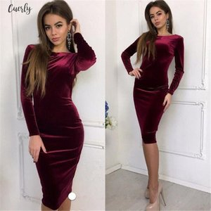 Summer New Style Fashion Crew Neck Womens Long Sleeve Velvet Stretch Midi Dress Evening Party Dresses