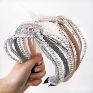 2020 Группы Vintage Lace Mesh Cross Pearl Jewel ободок для волос для девочек Clips женщин Тюрбан оголовье обруча Аксессуары для волос