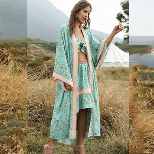 Boho Woman Cover-Ups Dress Shirt Casual Floral Print Kaftan Beach Cover Up Long Sleeve Cardigan Shawl Swimwear Women Summer CX200714