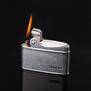 Retro Gasoline Flint Lighter Firewheel Trenches Pure Copper Cigarette Petrol Lighter Free Fire Inflated Metal Kerosene Cigar Gadgets For Men