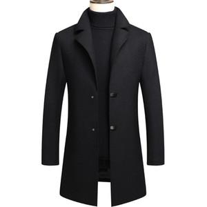 2020 Mens Wool Coat Autumn Winter Men Slim Fit Warm Coats Solid Casual Mid Length Wool Overcoat Mens Trench Coat Jacket Black