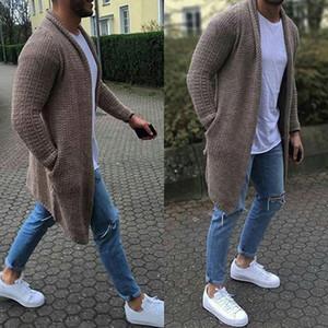 Новое прибытие Повседневный Твердая Мужчины Кардиган Streetwear с длинным рукавом вязаные свитера осень мужские Slim Fit свитер Шинель