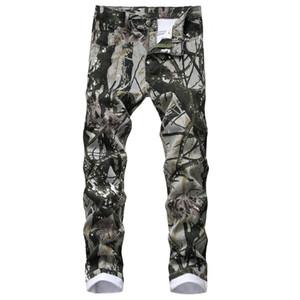 Camouflage Mens dünne Jeans-Frühlings-Herbst-Fashion Street Art-Jeans-Bleistift-Hosen MALE Biker-Jeans-Hosen