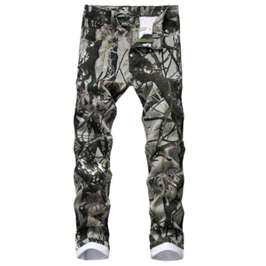 Camouflage Mens Skinny Jeans Primavera Autunno Fashion Street Style jeans matita pantaloni del maschio motociclista Jeans Pants
