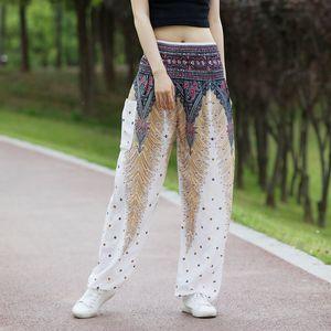 20200720 Gevşek Geniş Bacak Pantolon Pamuk ipek fener pantolon yoga