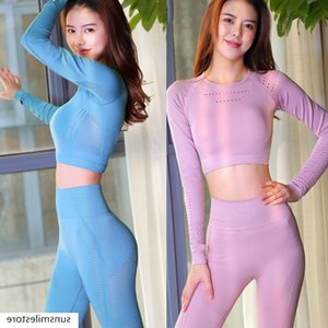 Yoga suit women's sports long sleeve gym running slim high stretch hollow tight pants suit