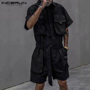 Hombres con estilo de Carga El traje de Streetwear múltiples bolsillos de manga corta de color sólido Mono elegantes masculinos mamelucos pantalones cortos S-5XL